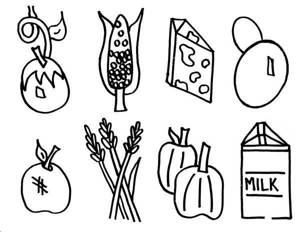 Foods, : Grown Food Coloring Pages