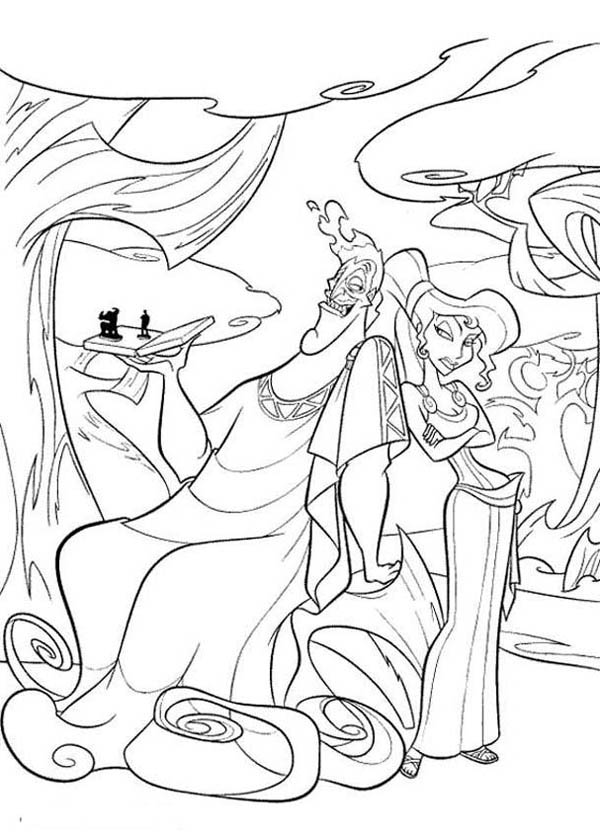 Hercules, : Hades and Megara Plan Something Bad to Hercules Coloring Pages