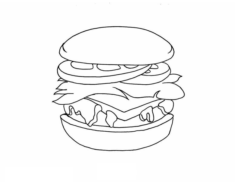 Foods, : Hamburger Food Coloring Pages