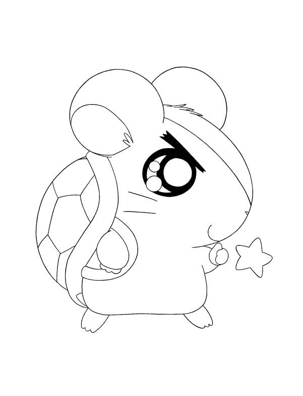 Hamtaro, : Hamtaro Bring Turtle Home Coloring Pages