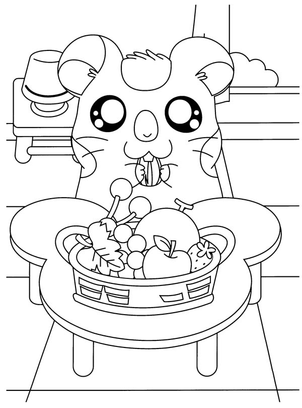 Hamtaro, : Hamtaro Eat a Lot of Fruitd Coloring Pages
