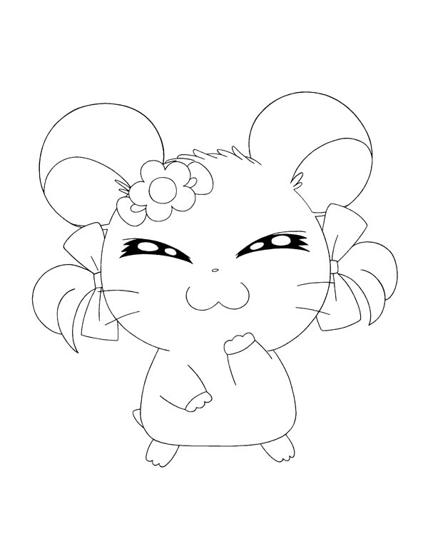 Hamtaro, : Hamtaro Girlfriend Coloring Pages