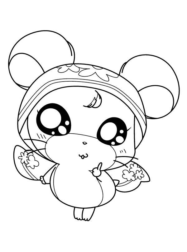 Hamtaro, : Hamtaro Girlfriend Wearing Dress Coloring Pages