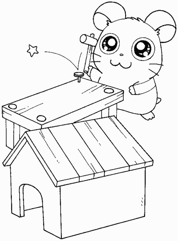 Hamtaro, : Hamtaro Making Little House Coloring Pages