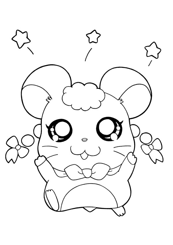 Hamtaro, : Hamtaro Throw Flowers Coloring Pages