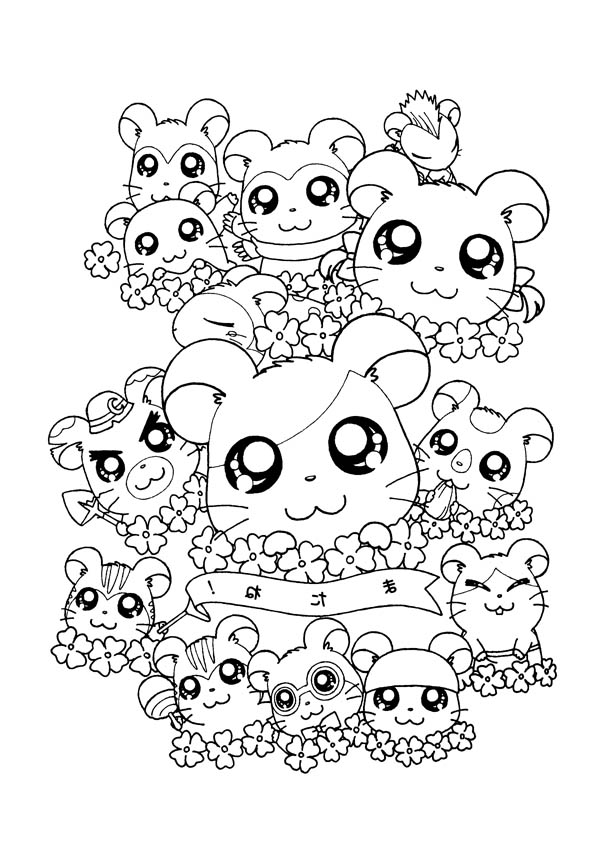 Hamtaro, : Hamtaro and Friends Coloring Pages