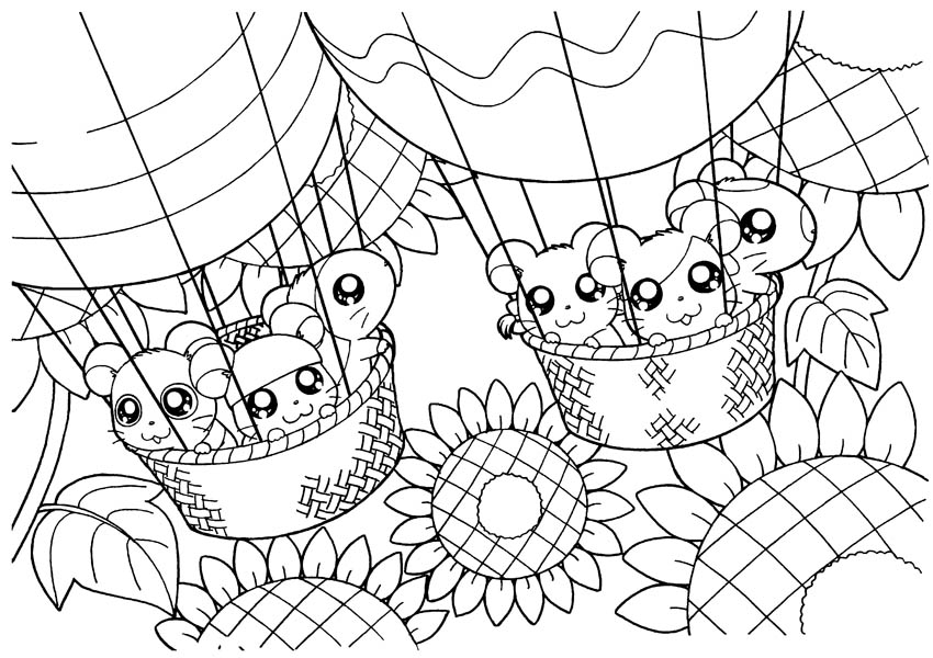 Hamtaro, : Hamtaro and Friends Ride Balloon Coloring Pages