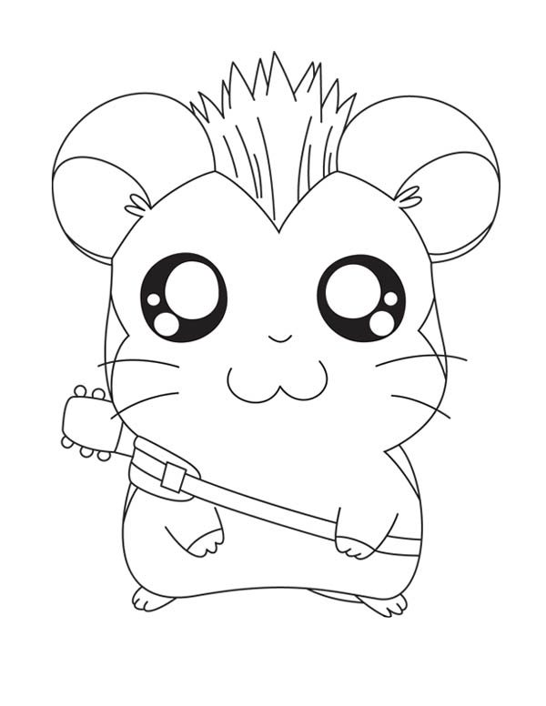 Hamtaro, : Hamtaro the Rock Star Coloring Pages