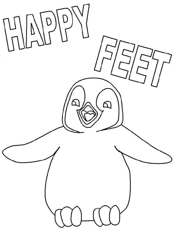 Happy Feet, : Happy Feet Mumble Outline Picture Coloring Pages