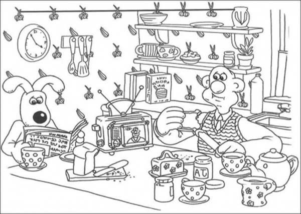 Bakery, : Having-breakfast-coloring-page