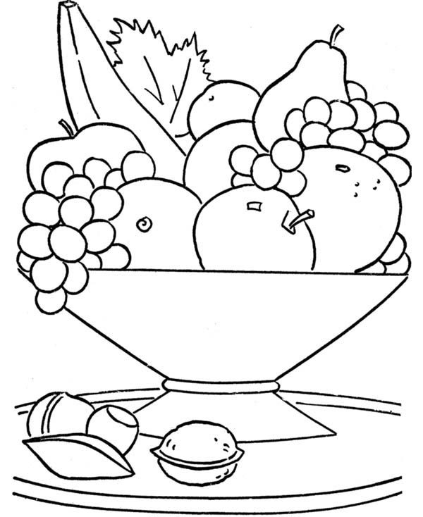 Foods, : Healthy Food Coloring Pages