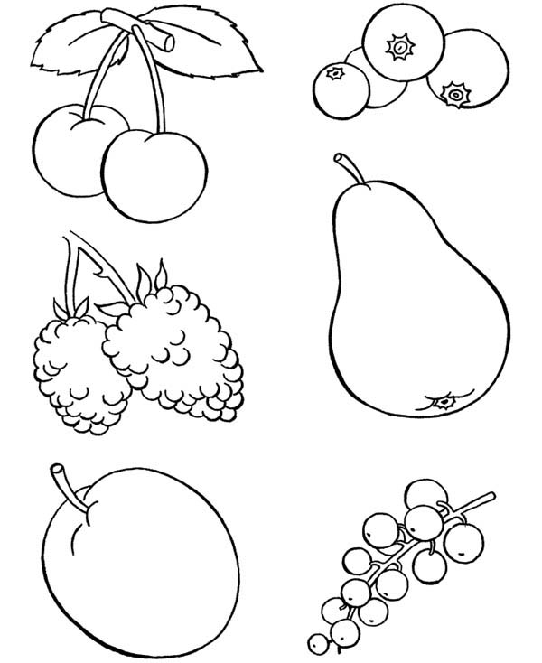 Foods, : Healthy Food Fruits Coloring Pages