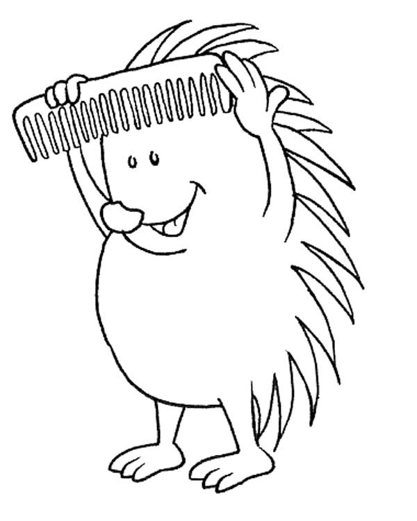 Hedgehogs, : Hedgehog Comb His Spine Colouring Pages