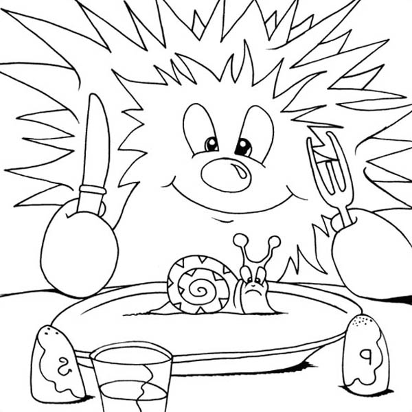 Hedgehogs, : Hedgehog Ready to Eat Snail Colouring Pages