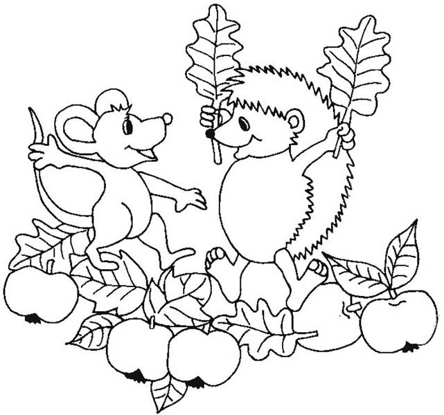 Hedgehogs, : Hedgehog is Delight to See Mouse Colouring Pages