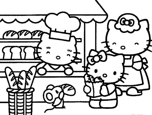 Bakery, : Hello Kitty is in Her Parents Bakery Coloring Pages