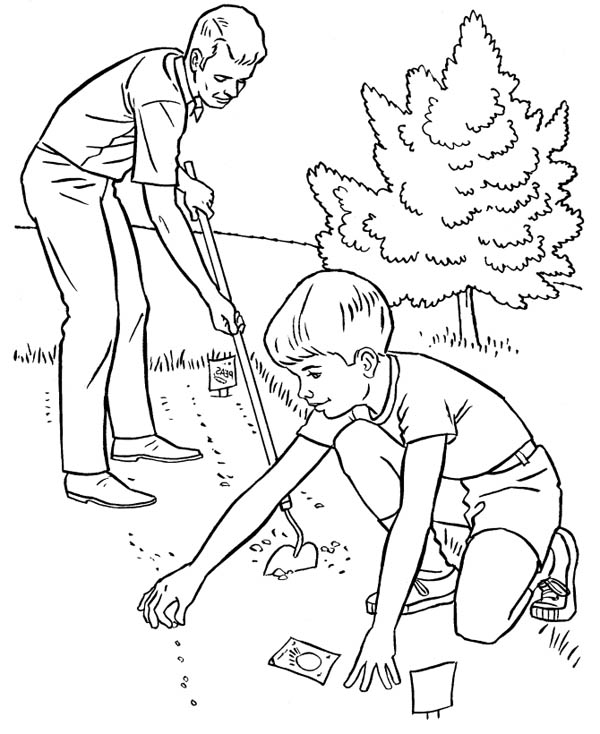 Gardening, : Helping Father Spring Gardening Coloring Pages