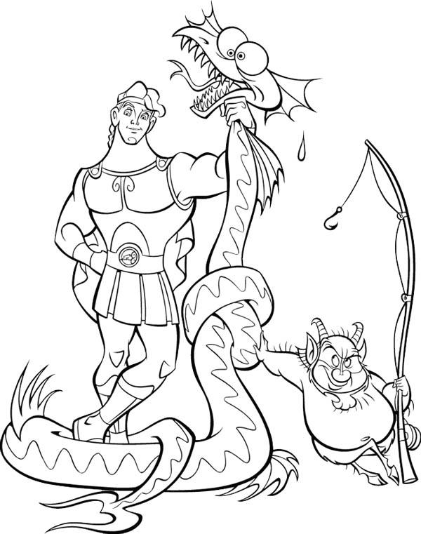 Hercules, : Hercules Beat a Dragon Coloring Pages