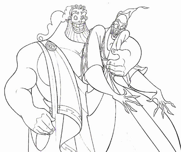 Hercules, : Hercules Father Zeus Hug Hades Tight Coloring Pages