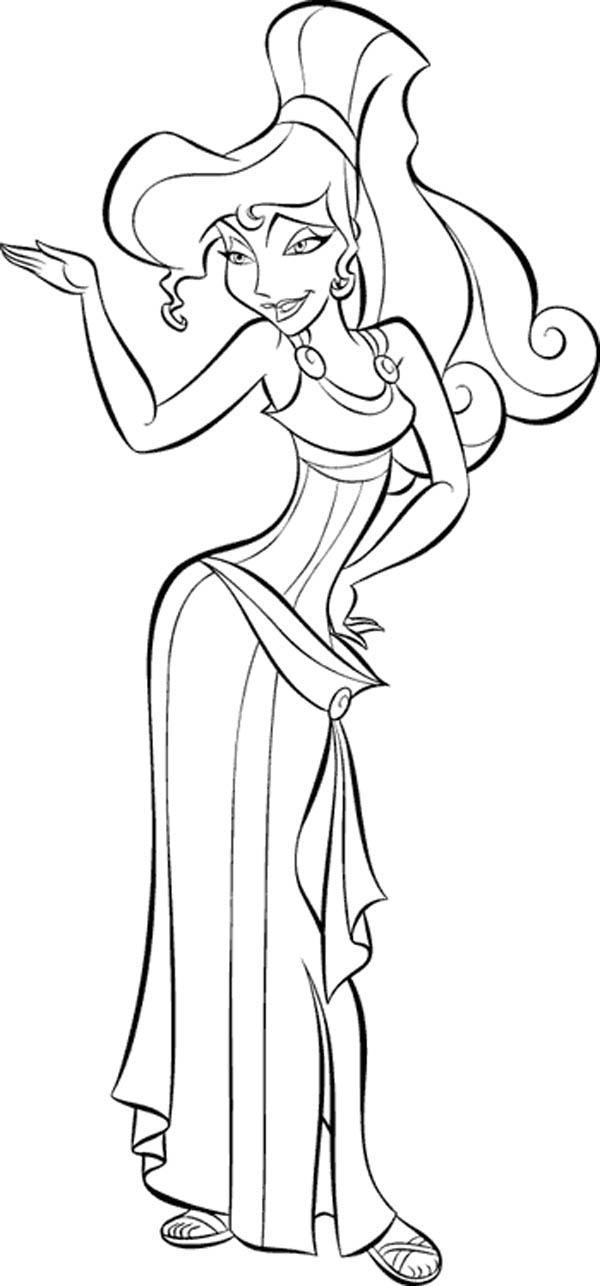 Hercules, : Hercules Girlfriend Beautiful Megara Coloring Pages