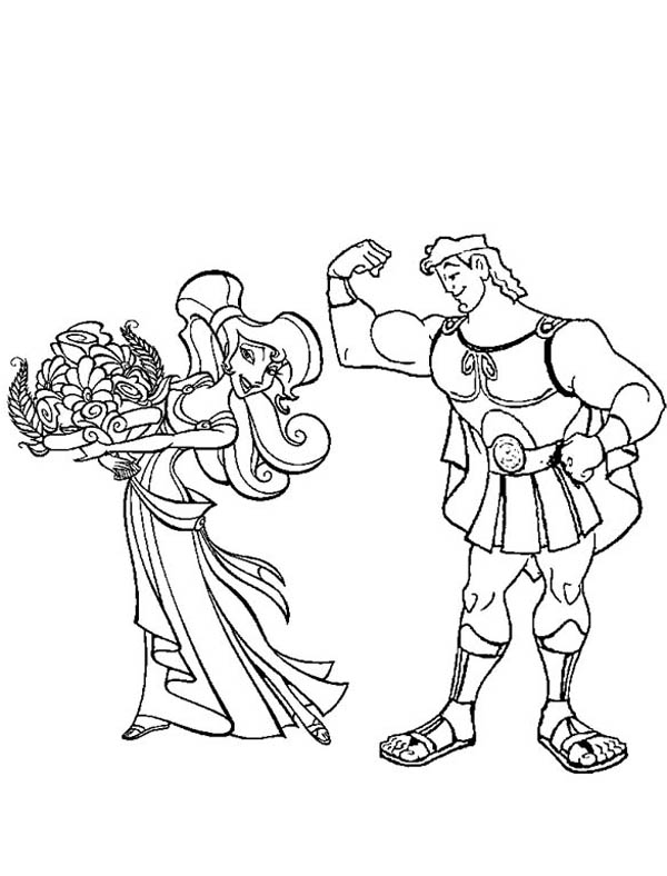 Hercules, : Hercules Smother Megara with Flower Coloring Pages