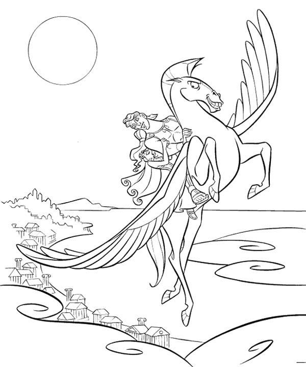 Hercules, : Hercules Take Megara Fly with Pegasus Coloring Pages