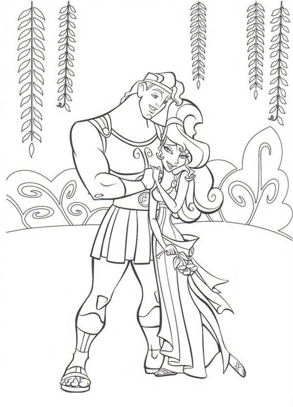 Hercules, : Hercules and Megara Love Each Other Coloring Pages