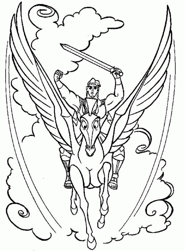 Hercules, : Hercules and Pegasus in Action Coloring Pages