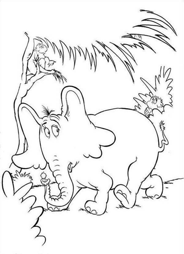 Horton, : Horton Hears a Who Getting Away from the Wickershams Coloring Pages