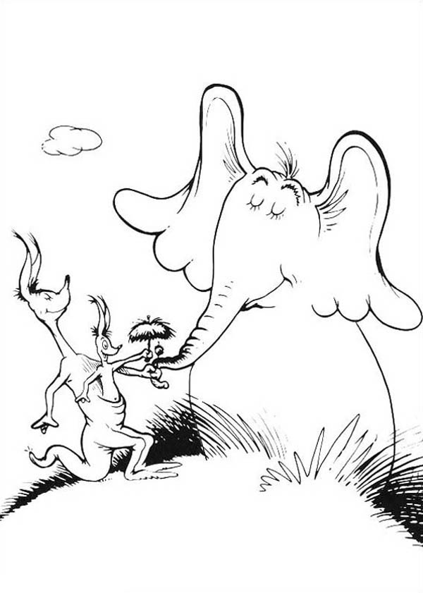 Horton, : Horton Hears a Who Jane Kangaroo Covering Clower with Little Umbrella Coloring Pages