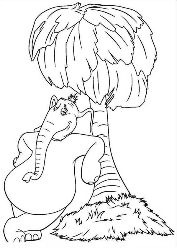 Horton, : Horton Hears a Who Standing Beside a Tree Coloring Pages