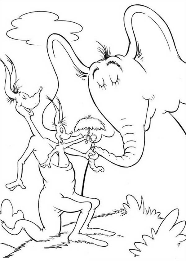 Horton, : Horton Hears a Who is Delight Meeting Jane Kangaroo Coloring Pages