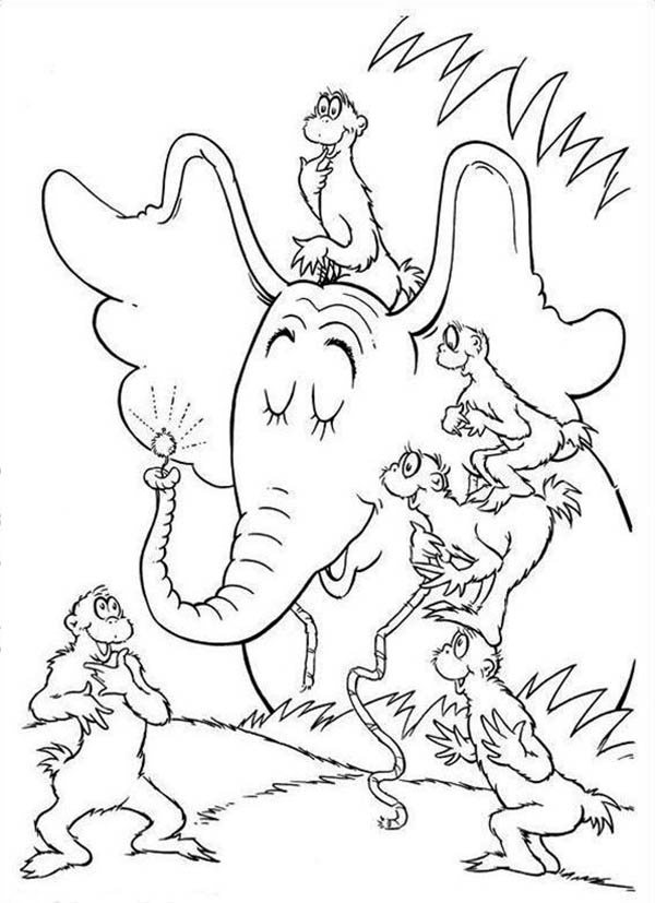 Horton, : Horton Telling to the Wickershams about the Clover in Horton Hears a Who Coloring Pages
