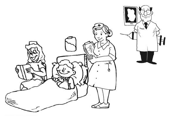 Hospital, : Hospital Activity Coloring Pages
