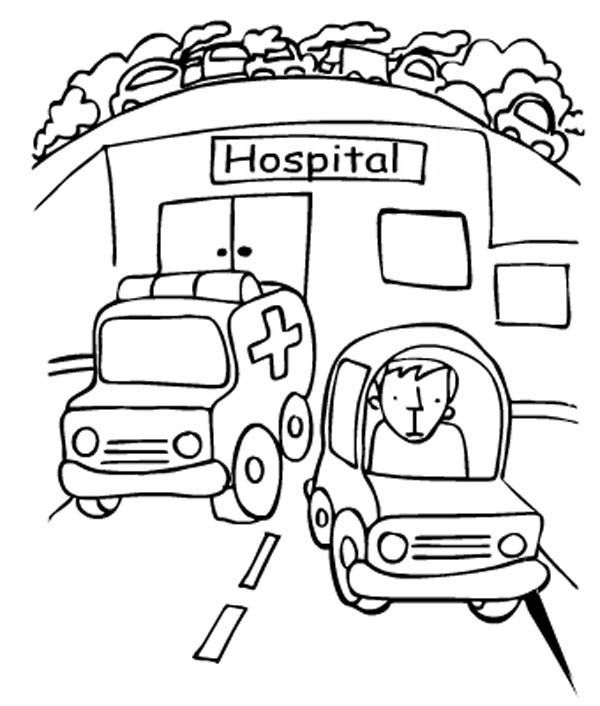 Hospital, : Hospital Ambulance Coloring Pages