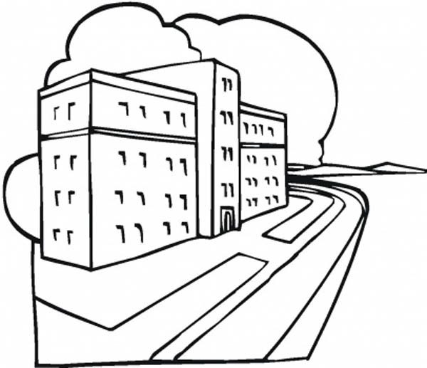 Hospital, : Hospital Building Coloring Pages