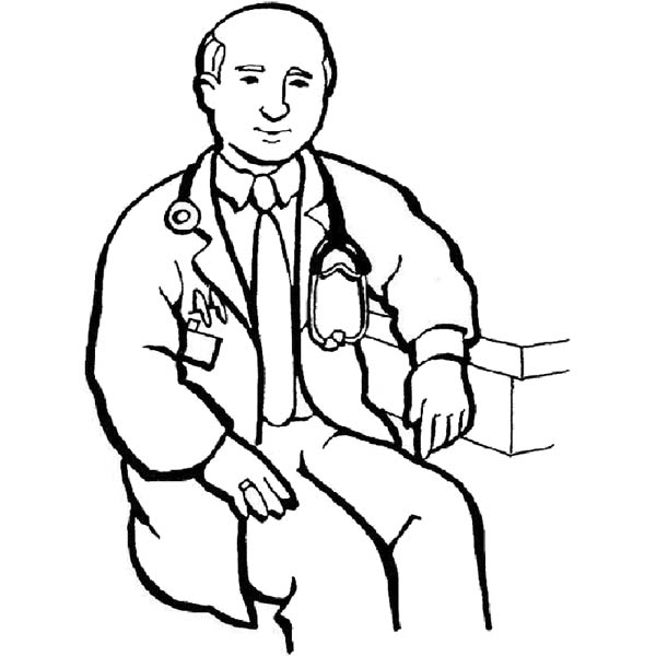 Hospital, : Hospital Male Doctor Coloring Pages