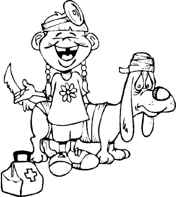 Hospital, : Hospital Taking Care of Animal Patient Coloring Pages