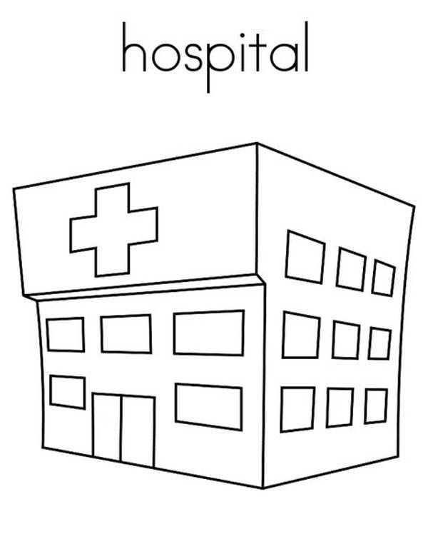 Hospital, : Hospital at My Town Coloring Pages