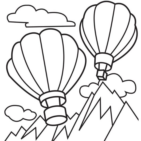 Hot Air Balloon, : Hot Air Balloon Over Top of Moutain Coloring Pages 2
