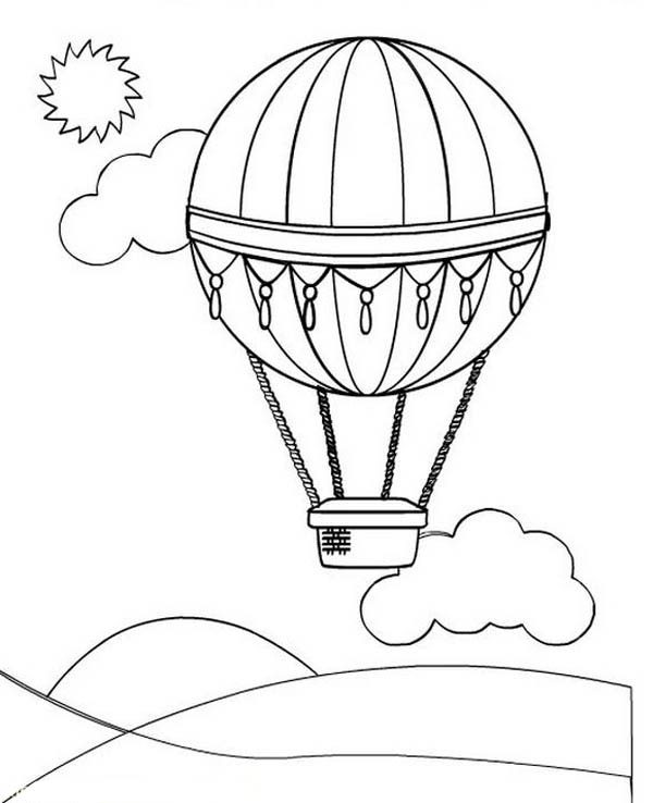 Hot Air Balloon, : Hot Air Balloon Over the Clouds Coloring Pages