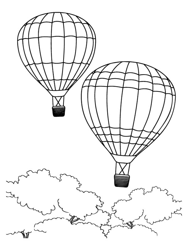 Hot Air Balloon, : Hot Air Balloon Passing Through the Jungle Coloring Pages