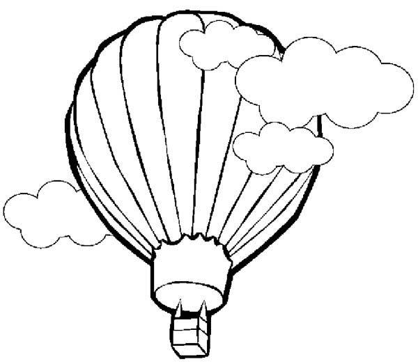 Hot Air Balloon, : Hot Air Balloon Reach the Sky Coloring Pages
