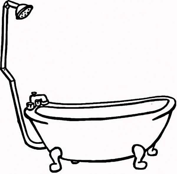 Bath, : How to Draw Bathtub for Bath Coloring Pages