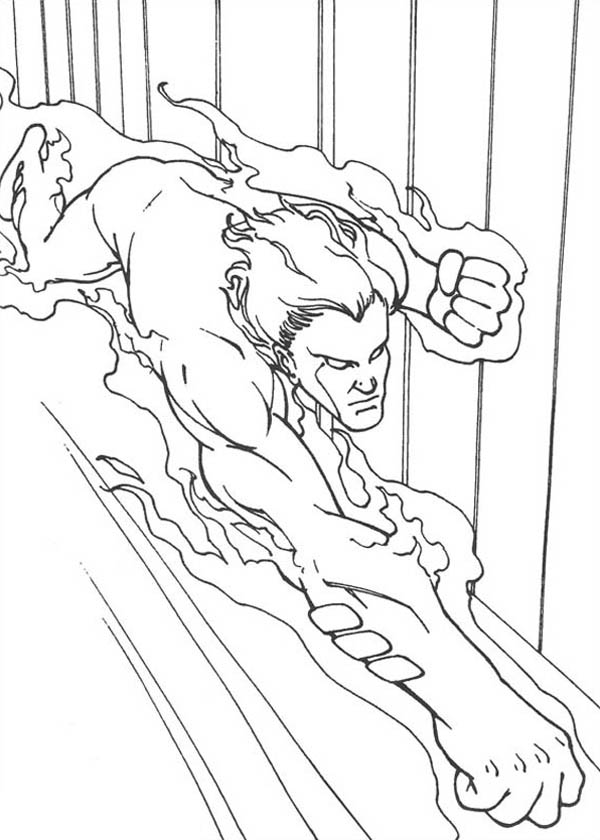 Fantastic Four, : Human Torch Flying Fast in Fantastic Four Coloring Pages