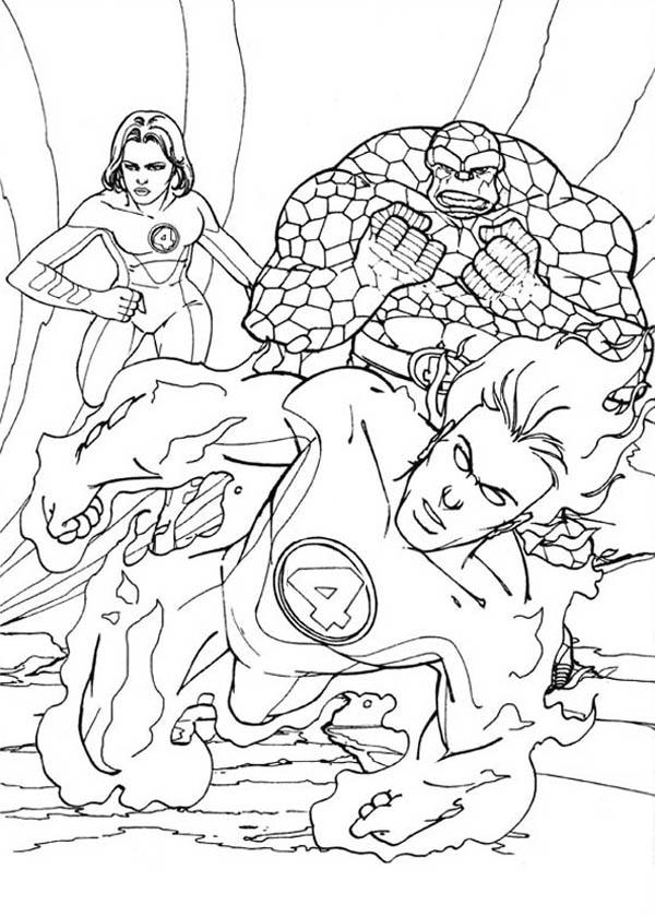 Fantastic Four, : Human Torch Lead Fantastic Four Coloring Pages