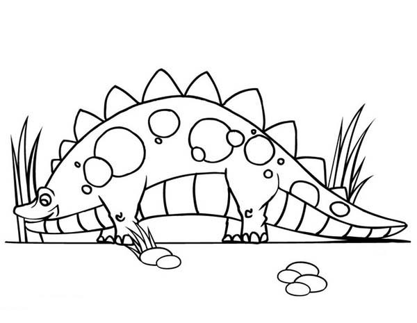 Baby Dinos, : Hungry Stegosaurus Find Food from Baby Dinos Coloring Pages