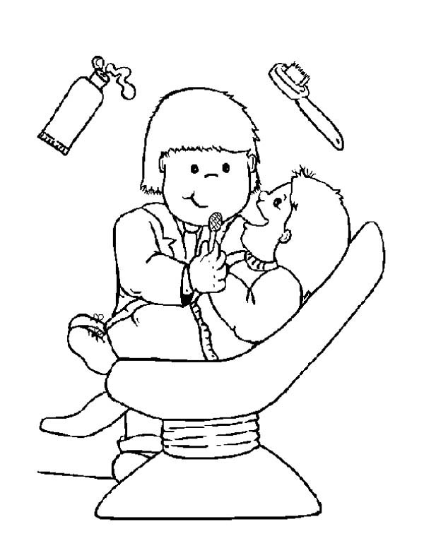 Dentist, : I am Not Afraid of Dentist Coloring Pages