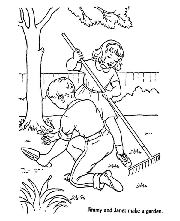 Gardening, : Jimmy and Janet Gardening at Backyard Coloring Pages