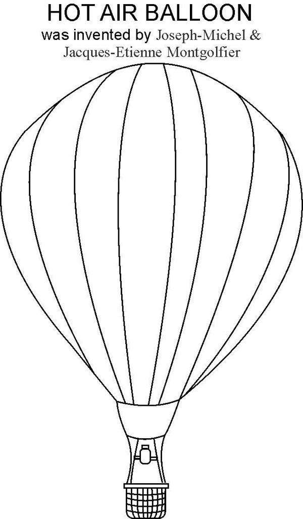 Hot Air Balloon, : Joseph Michel and Jacques Etienne Montgolfier Inventing Hot Air Balloon Coloring Pages